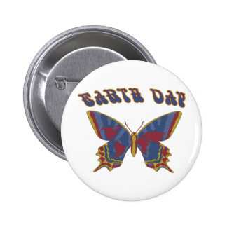 Earth Day Butterfly Pinback Buttons