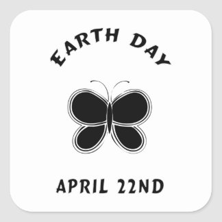 Earth Day Butterfly Square Sticker