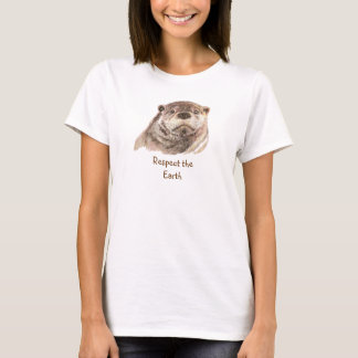 Earth Day   Cute Otter Native American Quote T-Shirt