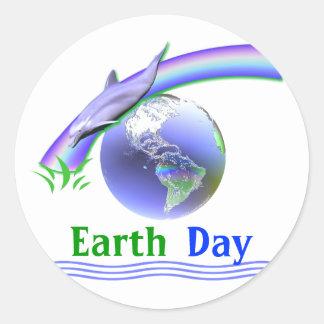 Earth Day Dolphin Round Sticker