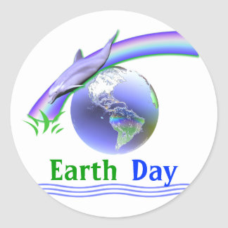 Earth Day Dolphin Round Stickers