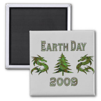 Earth Day Dragons 2009 Square Magnet