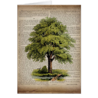 Earth Day ECO dictionary prints vintage oak tree Card