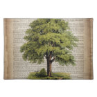 Earth Day ECO dictionary prints vintage oak tree Placemat