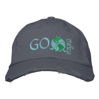 Earth Day Environmental Green Frog Embroidered Hats
