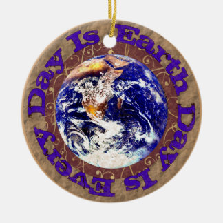 Earth Day Every Day Round Ceramic Decoration