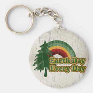Earth Day Every Day, Retro Rainbow Basic Round Button Key Ring