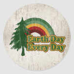Earth Day Every Day, Retro Rainbow Round Sticker