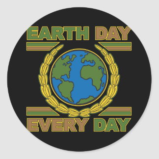 Earth Day Every Day Round Sticker