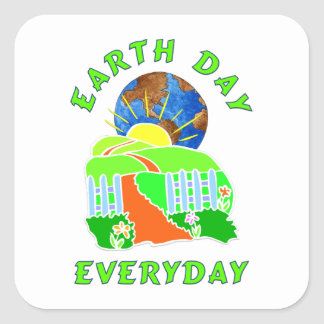Earth Day Every Day Square Stickers