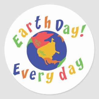 Earth Day Everyday Classic Round Sticker