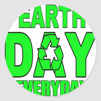 Earth Day Everyday Round Stickers