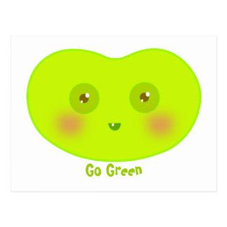 Earth day go green cute Jellybean art postcard