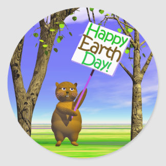 Earth Day Greeting Round Sticker