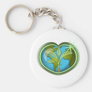 Earth Day Heart Keychain