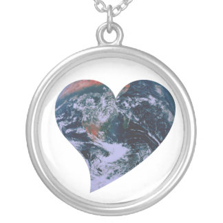 Earth Day Heart Round Pendant Necklace