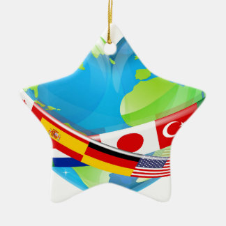Earth Day Heart With Flags Ceramic Star Decoration