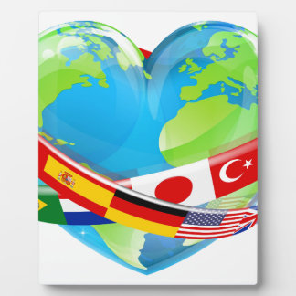 Earth Day Heart With Flags Photo Plaques