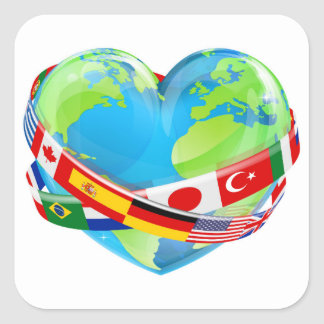 Earth Day Heart With Flags Square Sticker