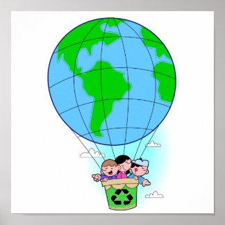 Earth Day hot air balloon Print