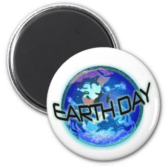 Earth Day in Blues 6 Cm Round Magnet
