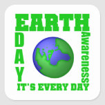 Earth Day It's Every Day Square Stickers