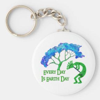 Earth Day Kokopelli Basic Round Button Key Ring