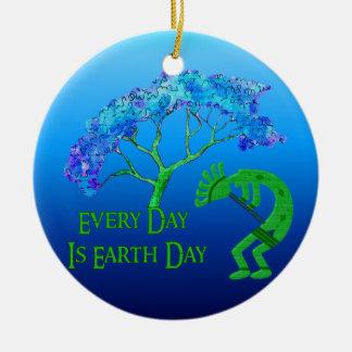 Earth Day Kokopelli Round Ceramic Decoration