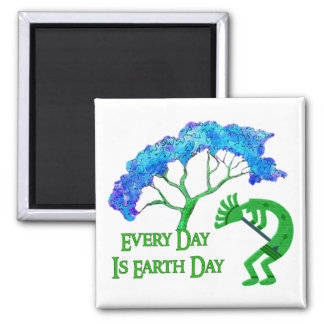 Earth Day Kokopelli Square Magnet