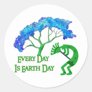 Earth Day Kokopelli Round Stickers