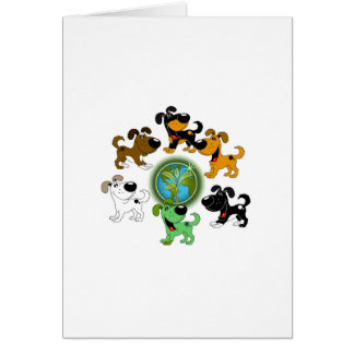 Earth Day - Leaf and Five Pups Greeting Card