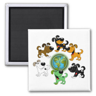 Earth Day! - Leaf and Five Pups Square Magnet