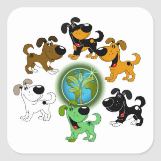 Earth Day! - Leaf and Five Pups Stickers
