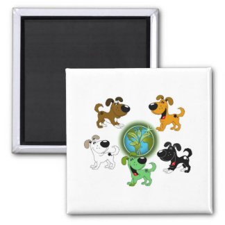 Earth Day! - Leaf and Four Pups Square Magnet