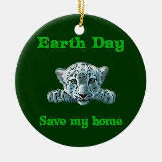 Earth Day Leopard Cub Double-Sided Ceramic Round Christmas Ornament