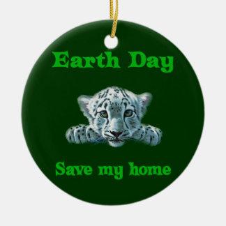 Earth Day Leopard Cub Round Ceramic Decoration