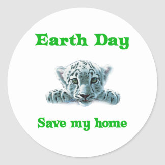 Earth Day Leopard Cub Round Stickers