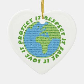 Earth Day Love Protect Respect custom ornament