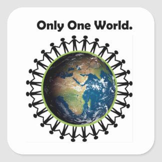 Earth Day Only One World Planet Earth Photo Square Sticker