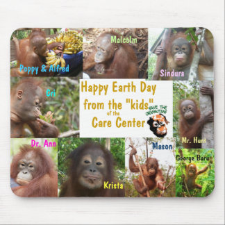 Earth Day Orangutans Borneo Sumatra Mouse Mat