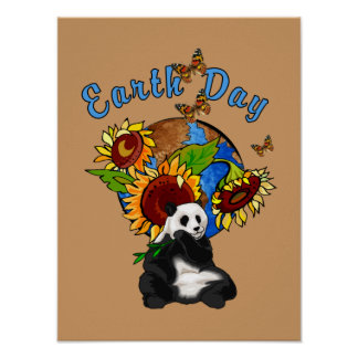 Earth Day Panda And Sunflower Poster
