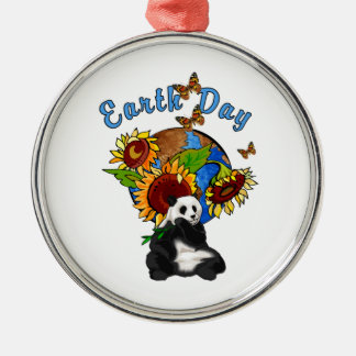 Earth Day Panda Planet Silver-Colored Round Decoration