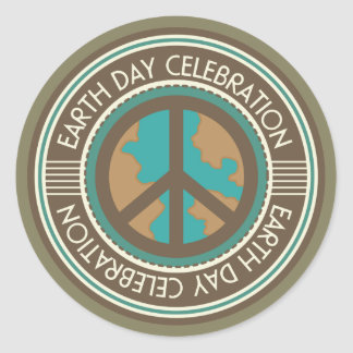 Earth Day Party Stickers Vintage Environment