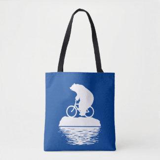 EARTH DAY: Polar Bear Bicycle Reusable Tote Bag
