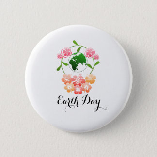 """Earth Day"" Pretty Floral Badge. 6 Cm Round Badge"