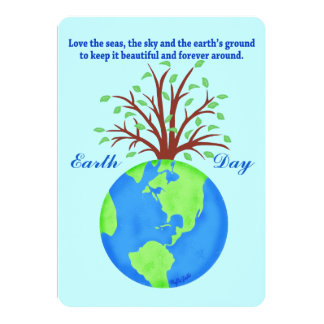 Earth Day Promote Save Love Globe Planet Tree 13 Cm X 18 Cm Invitation Card