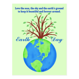 Earth Day Promote Save Love Globe Planet Tree Gree Postcard