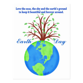 Earth Day Promotion Save Love Globe Planet Tree Postcard