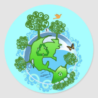 Earth Day Recycle Sticker Round Sticker