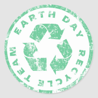 Earth Day Recycle Team Classic Round Sticker